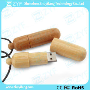 Cylinder Bamboo 8GB Flash Drive with Rope (ZYF1335) pictures & photos