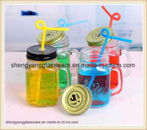 Factory Provide Cold Drinking Glass Cup/Mason Jar with Metal Lid pictures & photos