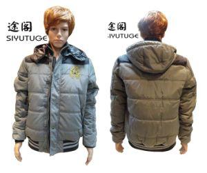Men PVC Coating Padding Long Sleeve Hoody Jacket (SY-1539) pictures & photos