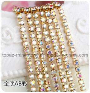 2.5mm Crystal Ab Wholesale Gold Plated Chain Cup Chain Rhinestones Crystal Claw Chain (RCG-ss8 crystal ab) pictures & photos