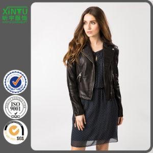 2016 Ladies Winter Custom Black Leather Jacket Price pictures & photos