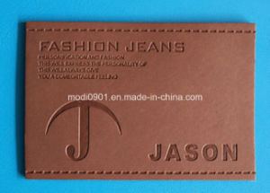 Color Changed Leather Patch for Garment High Quality Brown Vintage Washed Genuine Leather Label Patches pictures & photos