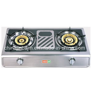 2 Burner Brass Cap Coated Stainless Panel Gas Stove pictures & photos