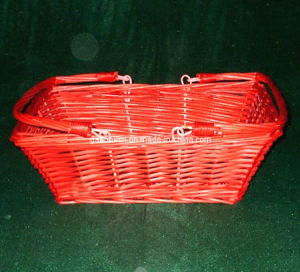 Red Rectangular Willow Wicker Basket with Folding Handles (FMS201)