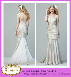 New Elegant Satin Ruched Mermaid Sweetheart Sleeveless Sweep Train Bridal Dress Yj0012