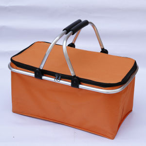 Collapsible Insulated Picnic Basket Cooler Bag with Aluminium Handle pictures & photos