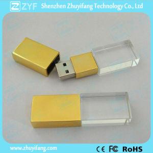 Golden Metal Cap Crystal 8GB Flash Drive (ZYF1512)