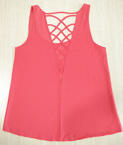 Women Fashion Clothes Summer Candy Color Chiffon Sleeveless Tank Top pictures & photos