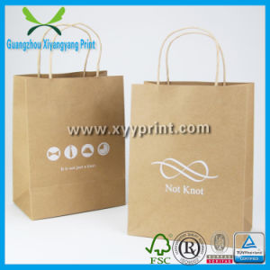 Custom Printing Brown Kraft Paper Bag with Twisted Paper Handle pictures & photos