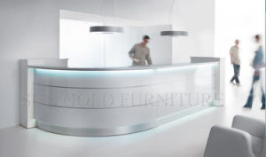 Modern Curved High Glossy White Salon Reception Desk (SZ-RT018) pictures & photos