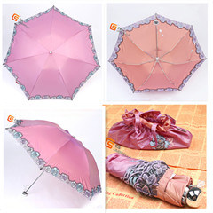 Three Fold Manual Open Umbrella with Ruffle Edge (YS-3F1009A) pictures & photos