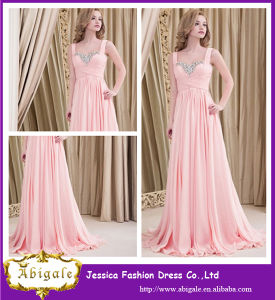 2014 Pink Spaghetti Strapless A-Line Long Crystal Party Prom Elegant Women Evening Dress pictures & photos
