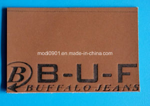 Embossed Leather Logo for Jean High Quality Branded Leather Patch with Embossed Logo pictures & photos