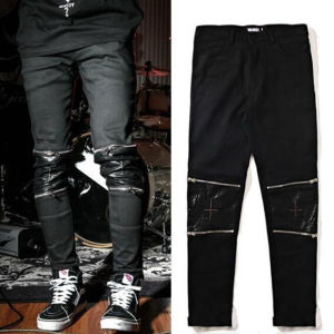 Knee Leather Zipper Pants Casual Black Trousers pictures & photos