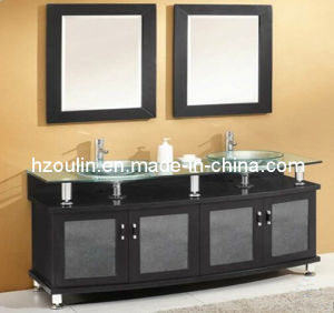 Double Sink Glass Bathroom Vanity (BA-1129) pictures & photos