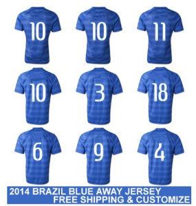 New 2014 World Cup Brasil Away Blue Copa Mundial Camisetas De Futbol Original Football T Shirts and Brazilian National Replica Soccer Jerseys Uniform Kit