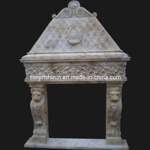 Stone Carving Fireplace With Lion Sculpture (FRP518) pictures & photos