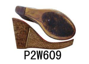 High Heel Shoe Sole PU Sole Wedge Heel Sole (P2W609) pictures & photos