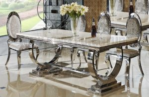 Factory Supply Cheap Marble Dining Table Set for Home (NK-DTB091)