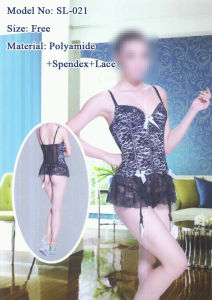 Women′s Sexy Lingerie, Tight Nighty Dress with Boning (SL-021)