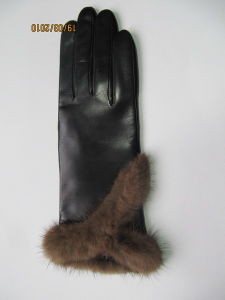 Lady Fashion Leather Gloves (JYG-21006) pictures & photos