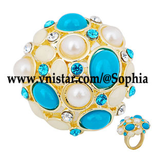 Gold Plated Rings R052g with Clear and Aquamarine Crystal Stones