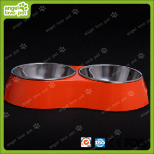 Red Melamine Double Bowl with Stainless Steel Bowl pictures & photos