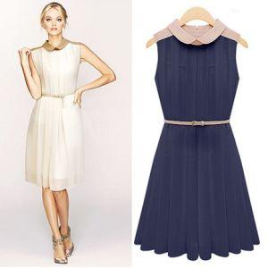 Summer Ladies Dress O-Neck Sleeveless Chiffon Women Dress