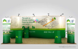 Tradeshow Combo 20FT No Wrinkle Tension Polyester Backdrop/Podium/Tower Display Stand pictures & photos