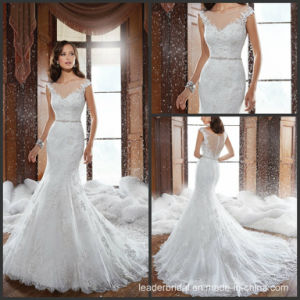 Mermaid Lace Bridal Gowns Sheer V-Neck Beads Wedding Dresses Y21512 pictures & photos