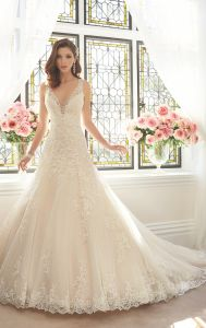 Lace Bridal Ball Gown V-Neck Beaded Wedding Dresses Y201642 pictures & photos