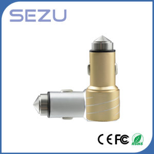 Best Sales Newest Design Dual USB Aerometal Car Charger with safety Hammer for Mobile Phone pictures & photos