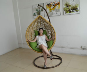 Egg Wicker Rattan Swing Chair with Stand pictures & photos