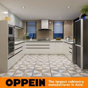 Oppein Modern High Quality PVC Modular Wood Kitchen Cabinet (OP15-PVC05) pictures & photos