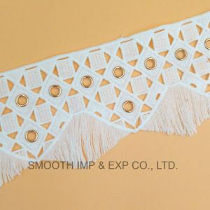 Fashion Embroidery Trim Metal Water Soluble Lace with Eyelets Fabric Cotton pictures & photos