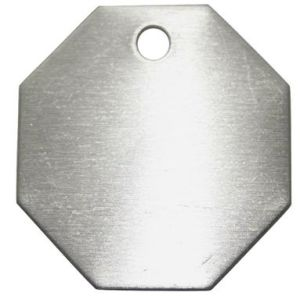 "Octagon Aluminum Blank Tag with Hole, 1-1/2"" (20Y571)"