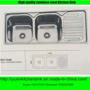 Ss201 Stainless Steel Double Bowl Kitchen Sink with Board (DS11048)