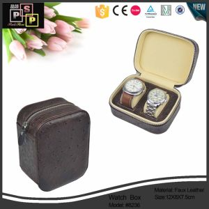 High Quality PU Leather Watch Travel Case with Zipper pictures & photos