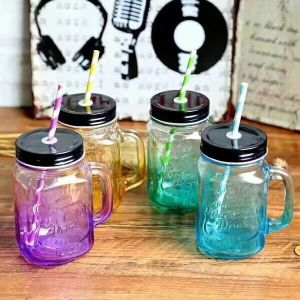 New Color Cocktail Mason Glass Bottle with Handle pictures & photos