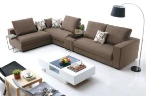 2015 New Design PU Leather and Fabric Combination Sofa, Left Chaise Lounge Sofa pictures & photos