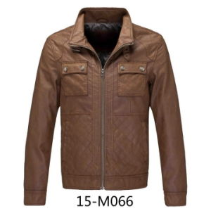 Men′s PU Leaterr Quilted jacket (15-M066) pictures & photos