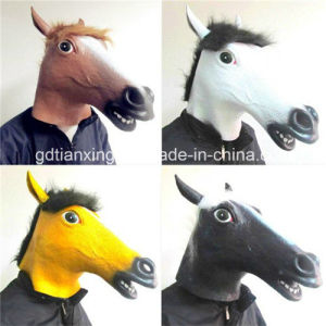 Men′s Fantastic Whimsey Costume Latex Horse Head Mask pictures & photos