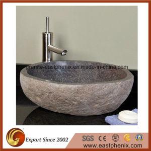 Dark Grey River Stone Vessel Stone Sink pictures & photos