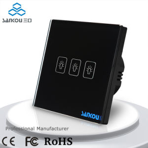 Sankou Electrical Touch Switches 220V50Hz Three Gang One Way Light Wall Switch with Black Glass Plate Window Wall Switch