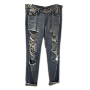 Hand Washed Hole Denim Pants Jeans for Girl