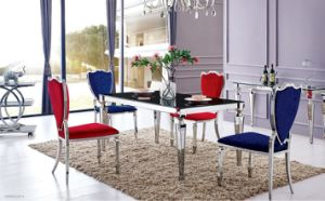 Modern Glass Dining Room Table Sets with 4 People Fabric Chairs pictures & photos