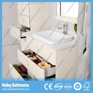 Salable Classic Solid Wood Multilayer Bathroom Vanity with Side Cabinet (BV217W) pictures & photos