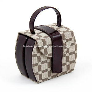 Brown Leather Checkered Jewelry Case Portable Jewelry Box pictures & photos