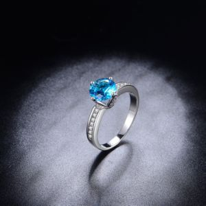 Imitation Rhodium Pretty Diamond Finger Engagement Ring pictures & photos