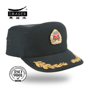 Green Police Cap with Embroidered Peak pictures & photos